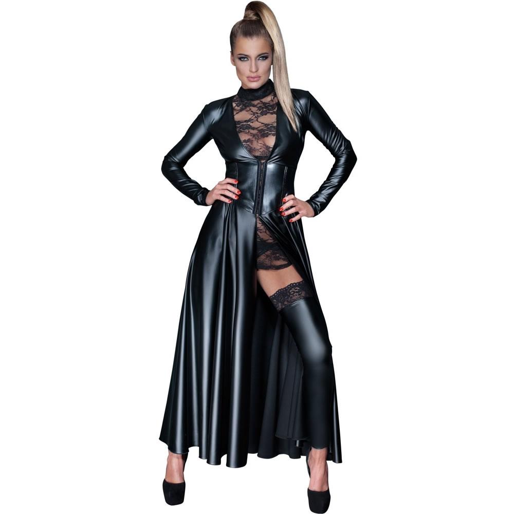 Noir Handmade Mantelkleid im Wetlook