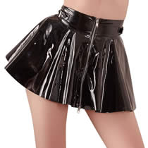 Vinyl mini skirt with zipper