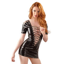 Vinyl dress in black with lacing