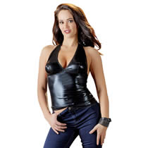 Wetlook Top in Schwarz