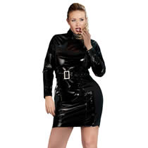Plus Size Vinyl Dress with Belt