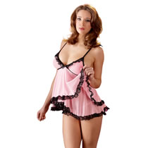 Babydoll in Rose with Black Lace