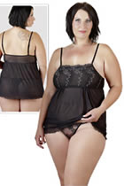 Babydoll Plus Size set in Black with String