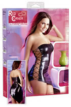 Wetlook Mini Dress with Lateral Lacing