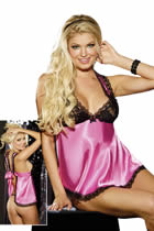 Shirley of Hollywood Babydoll in Schwarz und Rosa