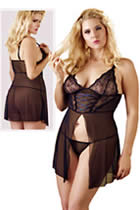 XL Babydoll in Black Lace and Powernet