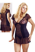 Plussize Chemise with Lace and Powernet