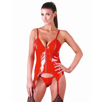 Vinyl Basque in Red with Suspenders