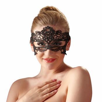 Augenmaske mit Stickerei in Schwarz