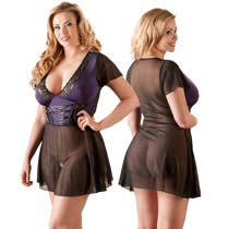 Plus Size Lingerie Dress in Black and Purple