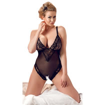 Plus Size Spitzen Body in Schwarz