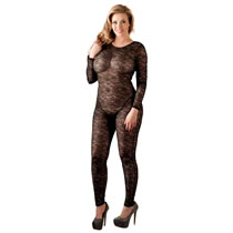 Plus Size Spitzen Bodystocking in schwarz