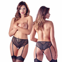 Lace High Waist Panties with Suspenders