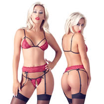 Lace Strip Bra Set in red with Suspenderbelt