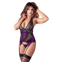 Purple Basque with Black Lace
