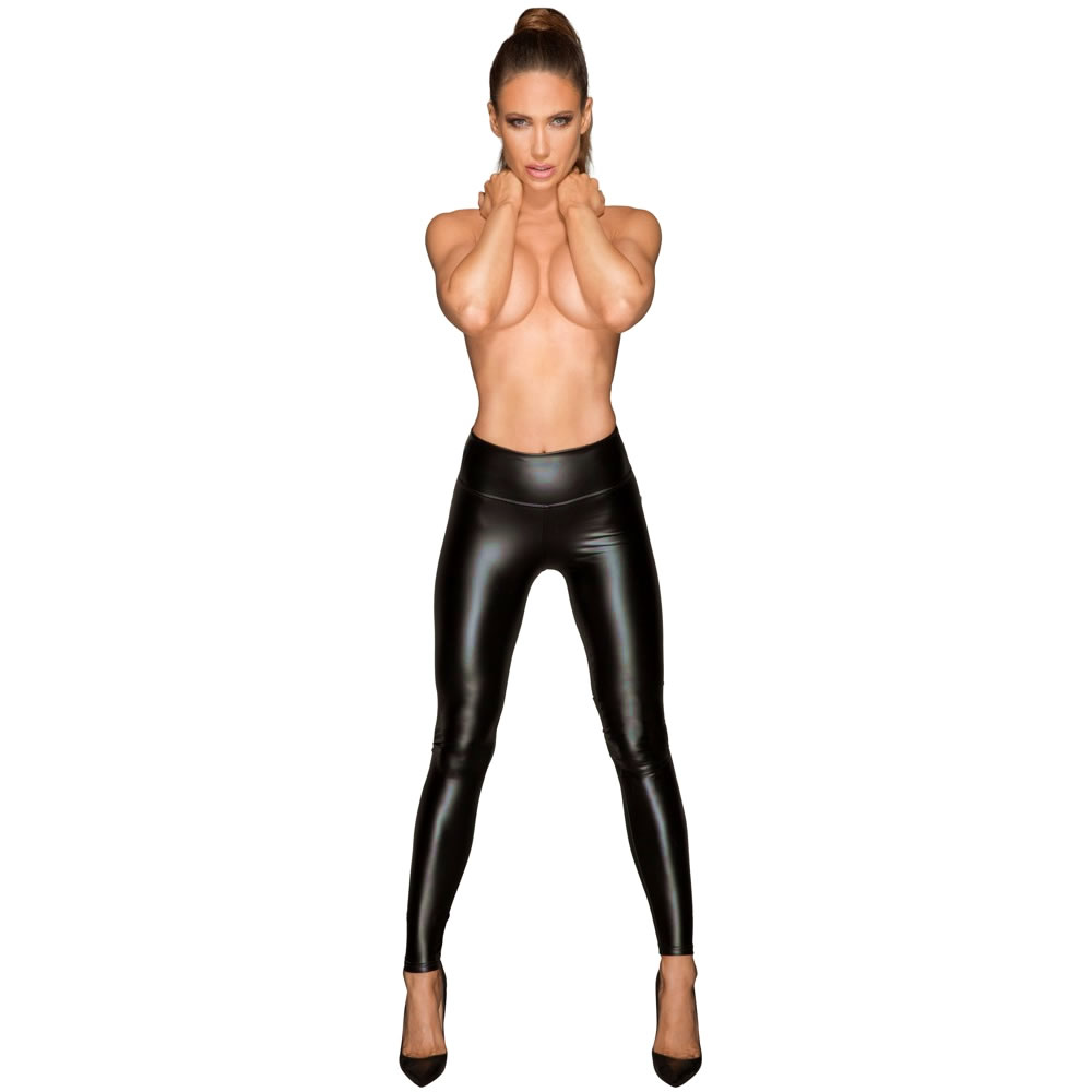 Noir Wetlook Leggings in Schwarz