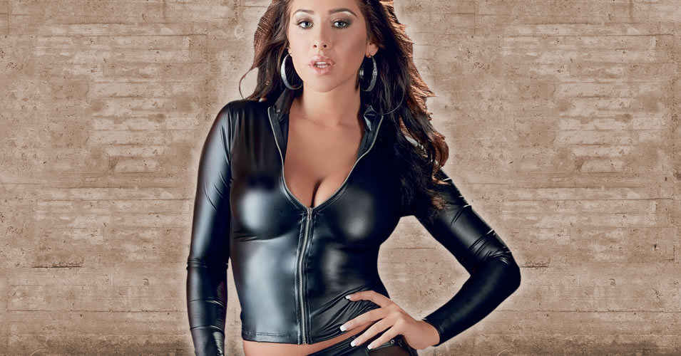 Long Sleeve Wetlook Top with Zip