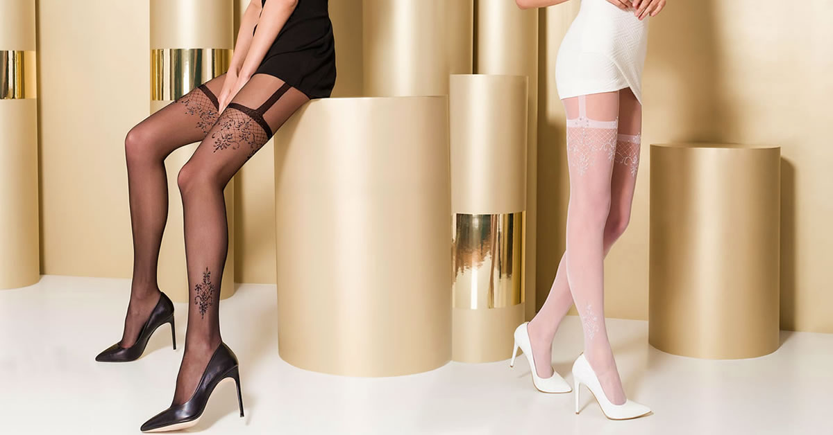 Passion Tights 108 with Suspender Look