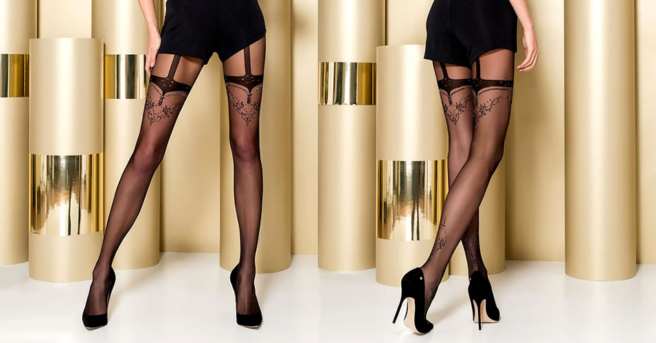 Passion Tights 107 with Suspender Look