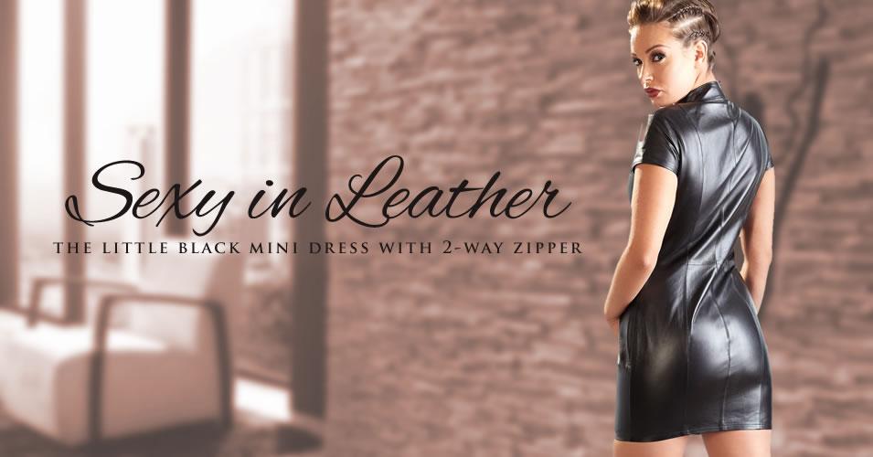 Leather Mini Dress with Zipper