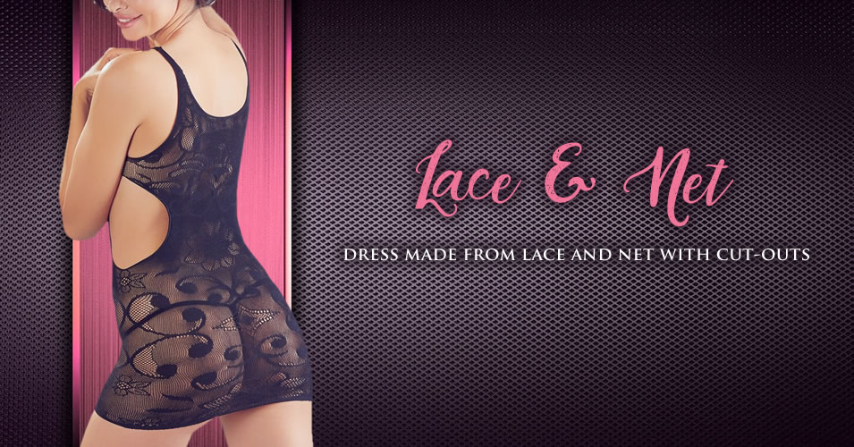 Lace and Net Dress with Cut-Outs