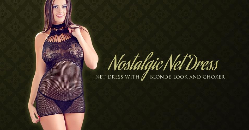 Net Dress with Collar