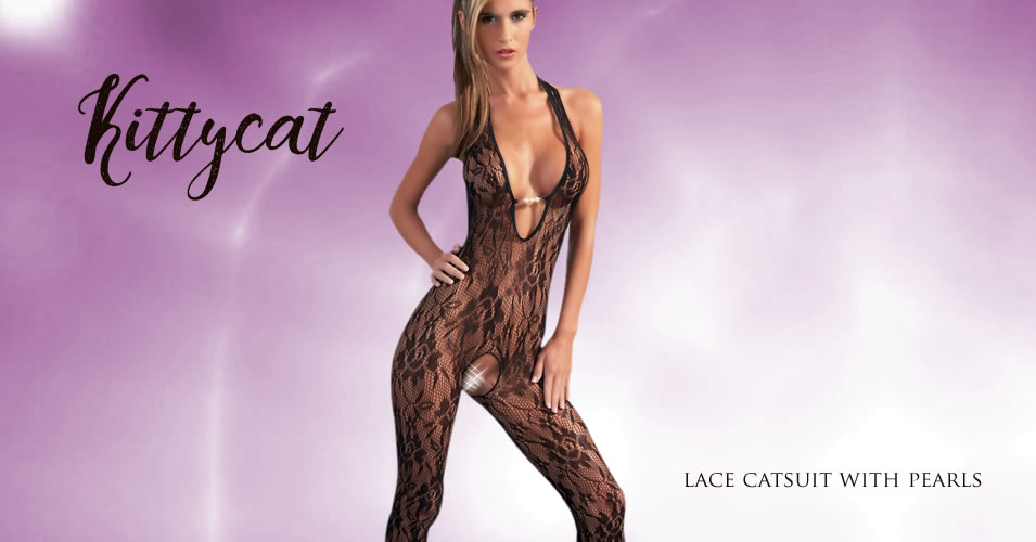 Lace Catsuit with Pearls