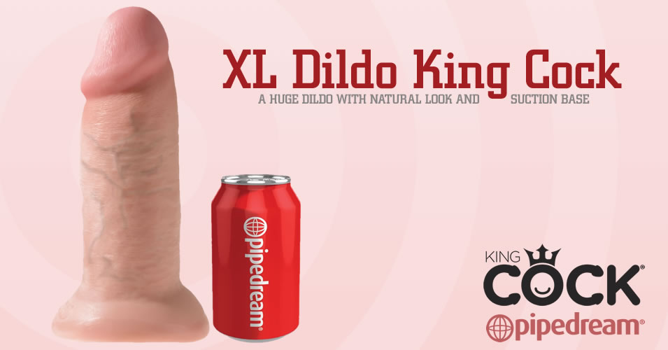 XL Dildo King Cock med Strap-On Sugekop