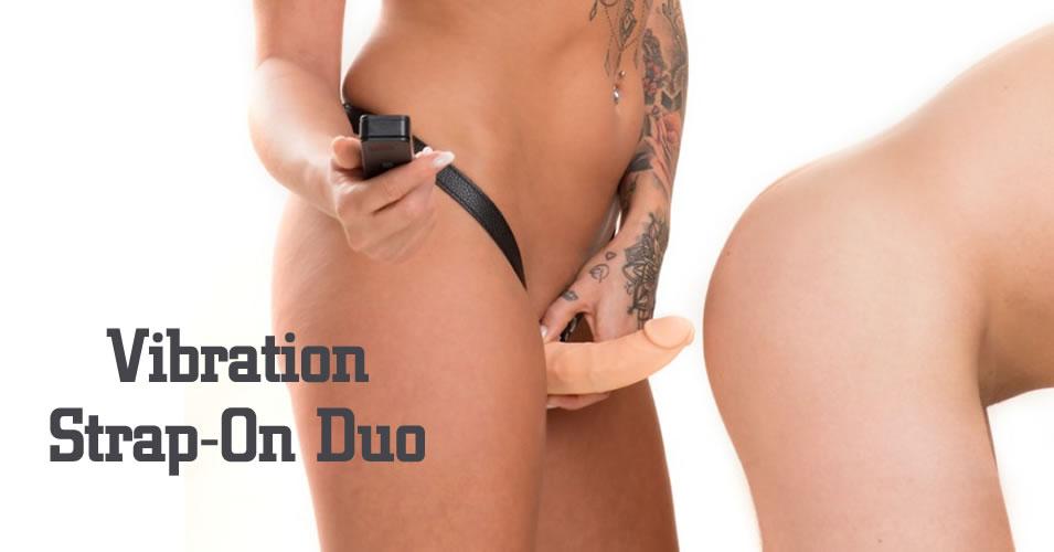 Realistisk Silikone Strap-On Duo med Vibrator