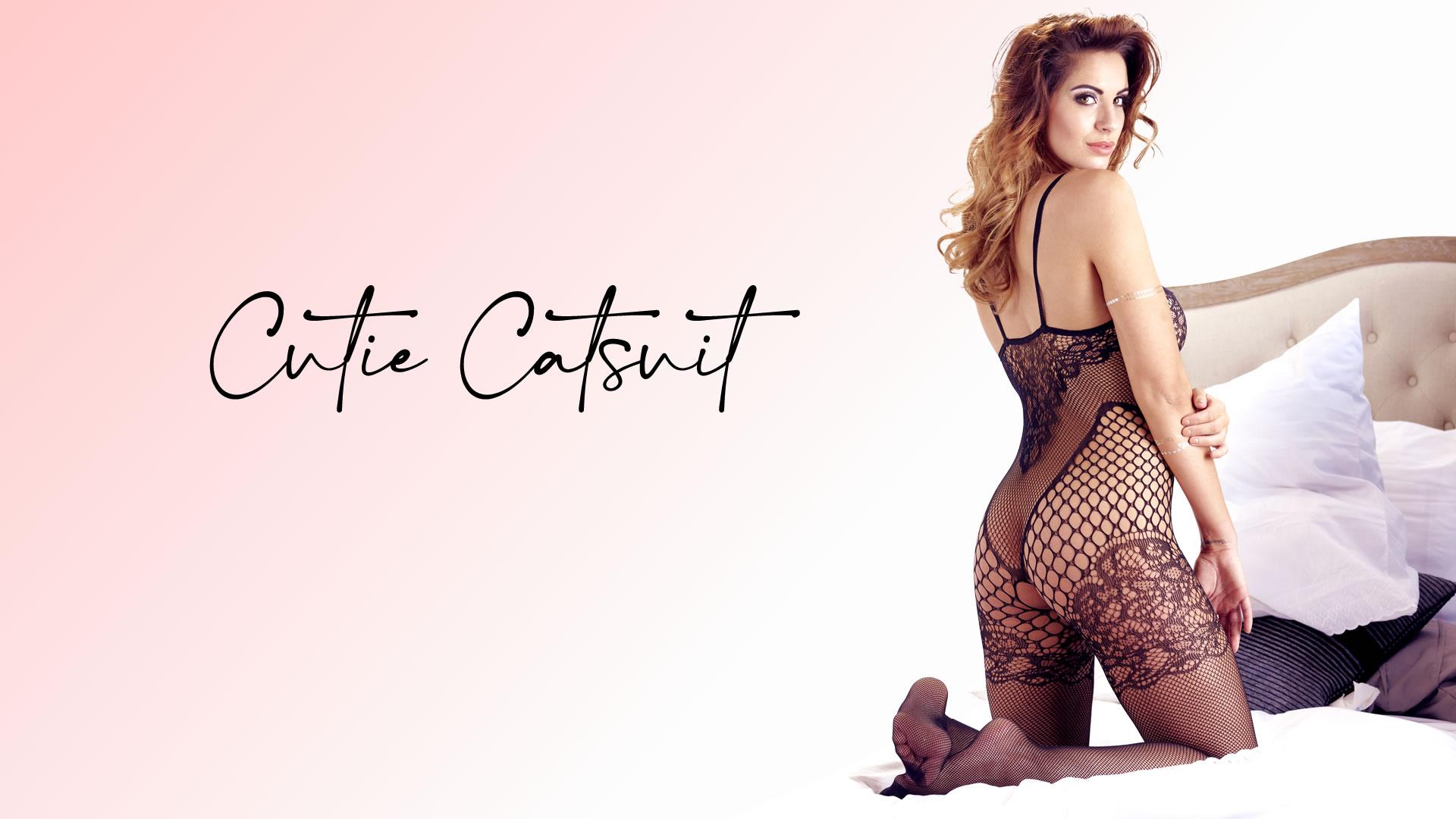Blonde Catsuit med Body og Stay-up Look