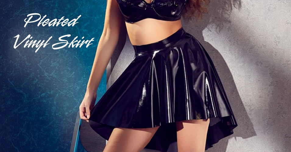 Vinyl Skirt Pleated in Black