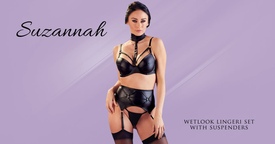 Suzannah Wetlook Bra set with Suspenders & Cage Straps