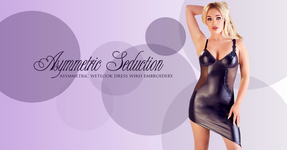 Wetlook Dress with Embroidery and Transparent Sides