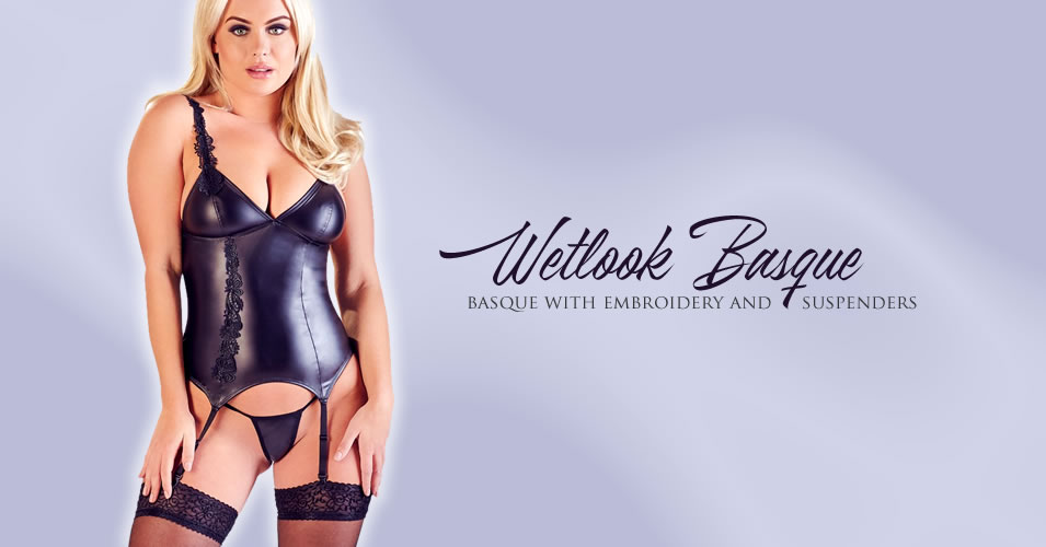 Wetlook Basque with Embroidery and Suspenders