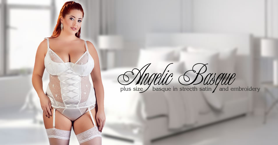 Plus Size Strapshemd in Stretch-Satin mit Stickerei