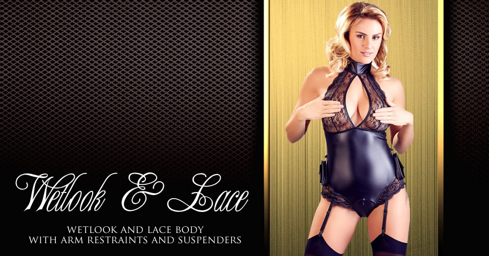 Wetlook & Lace Bondage Body with Suspenders and Arm Cuffs