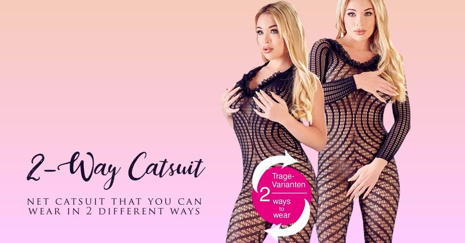2-Way Net Catsuit med Raffineret Mønster