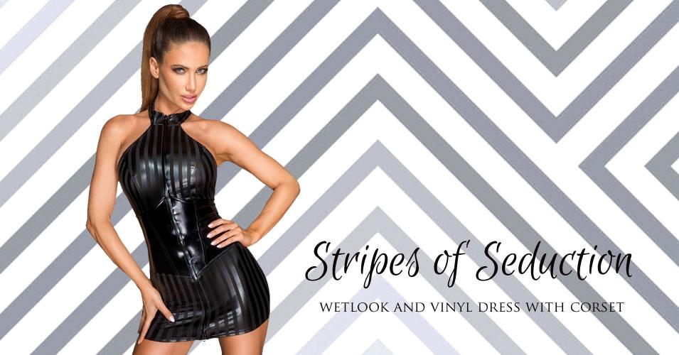 Noir Wetlook Dress with Vinyl Waist Cincher