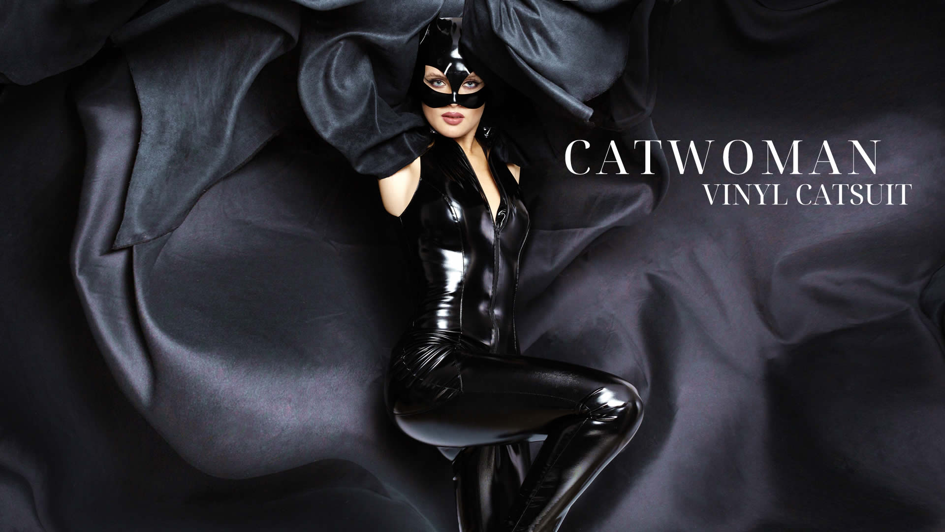 Vinyl Jumpsuit in Black