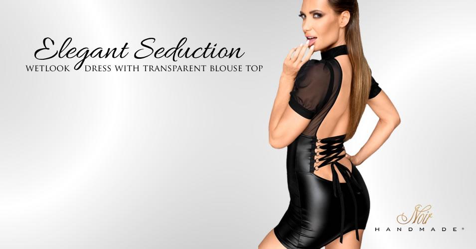 Noir Wetlook Dress with Transparent Blouse Top