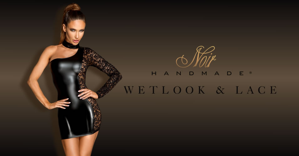 Noir Wetlook & Lace Dress