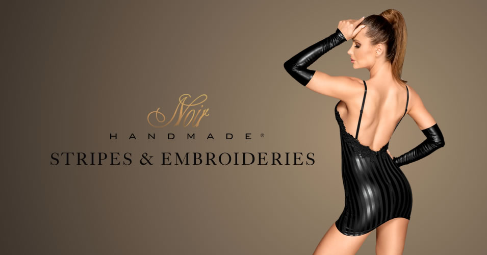 Noir Wetlook Dress with Stripes and Embroideries