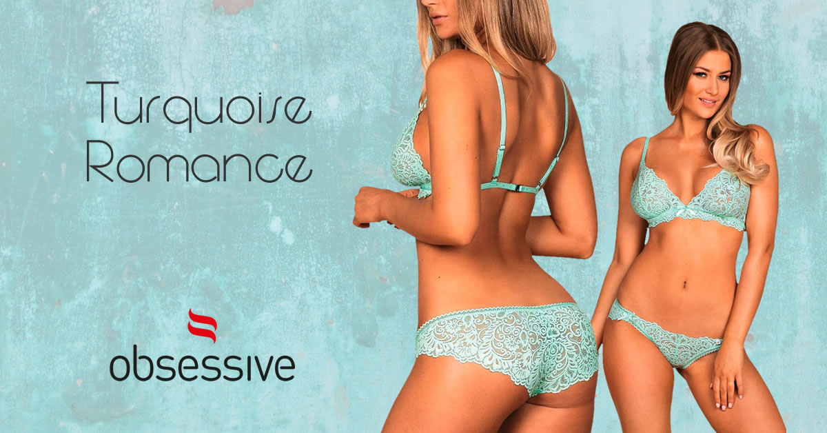 Obsessive Lace Bra and Briefs in Turquoise