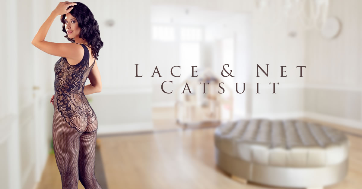 Net Catsuit with Lace Body Design