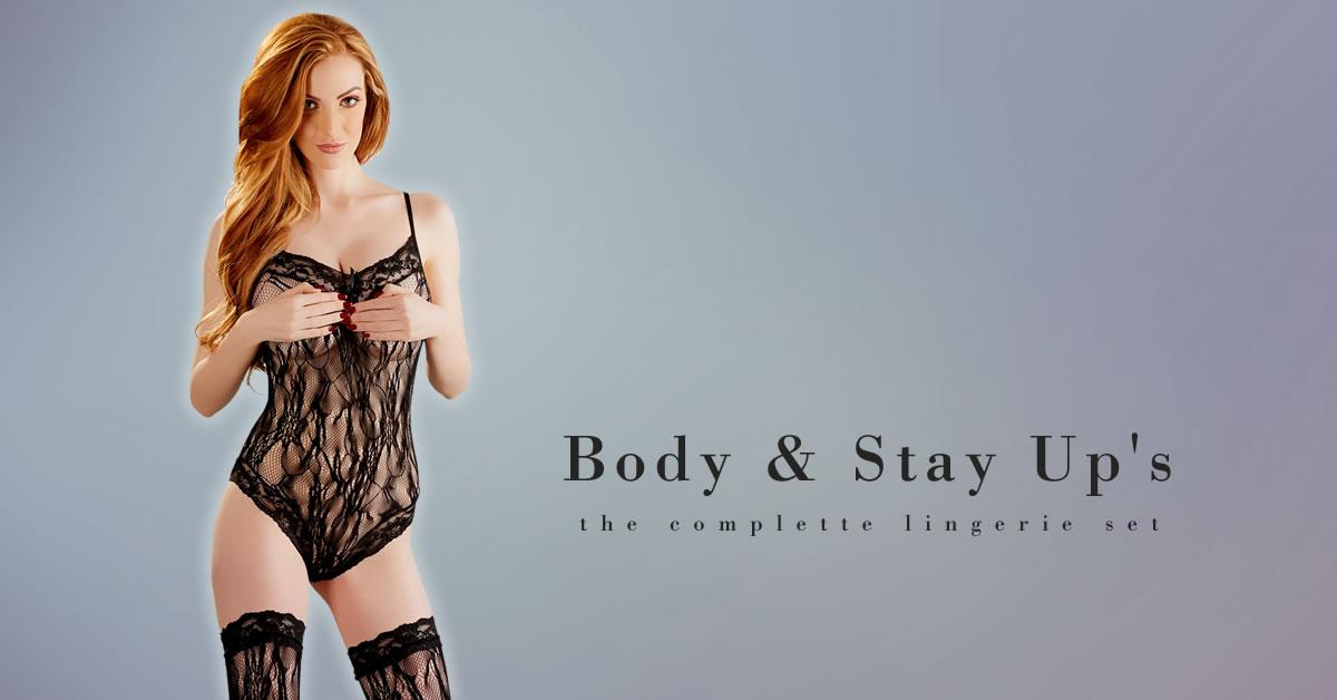 Net Bodystocking med Blonder og Stay-Up Strømper