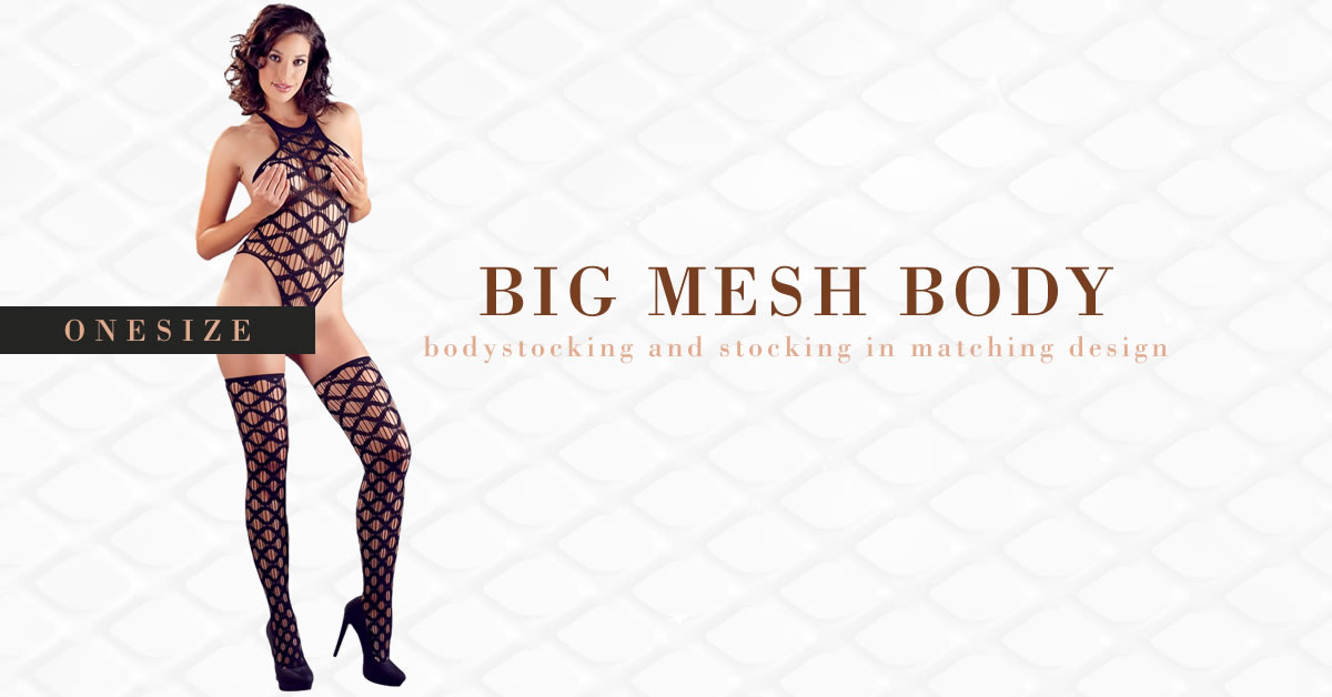 Net Bodystocking with Thigh High Stockings