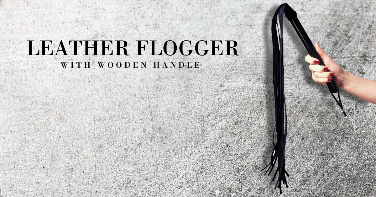 Leather Flogger with Wooden Handle and Loop