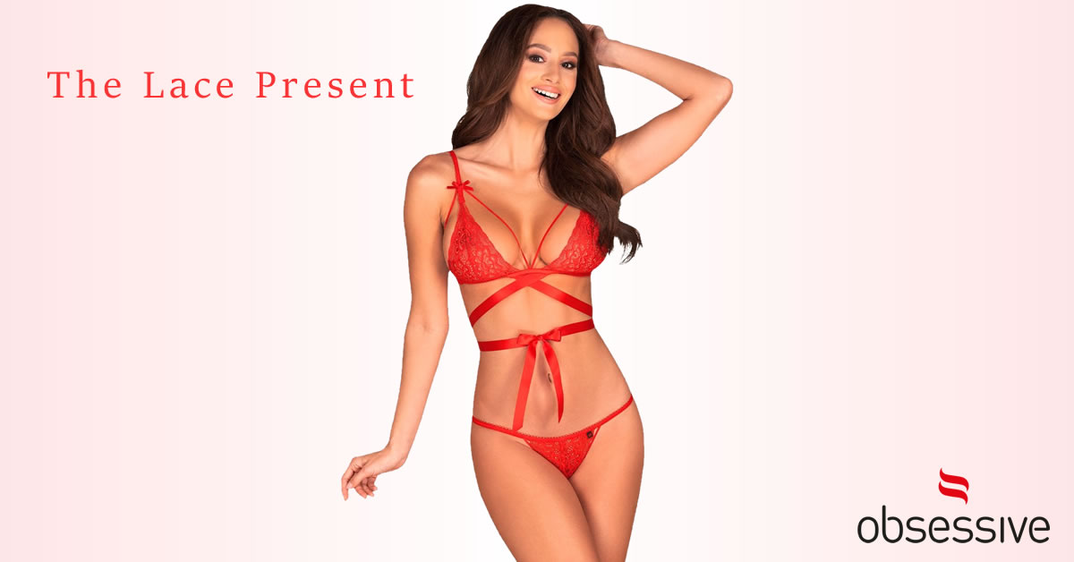 Obsessive Bra and Slip in Red Lace with Cage Straps