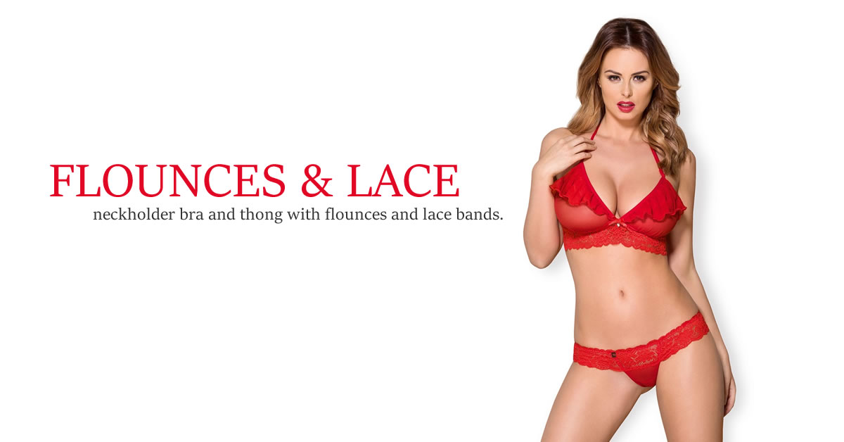 Obsessive Neckholder Bra with Thong in Red Lace