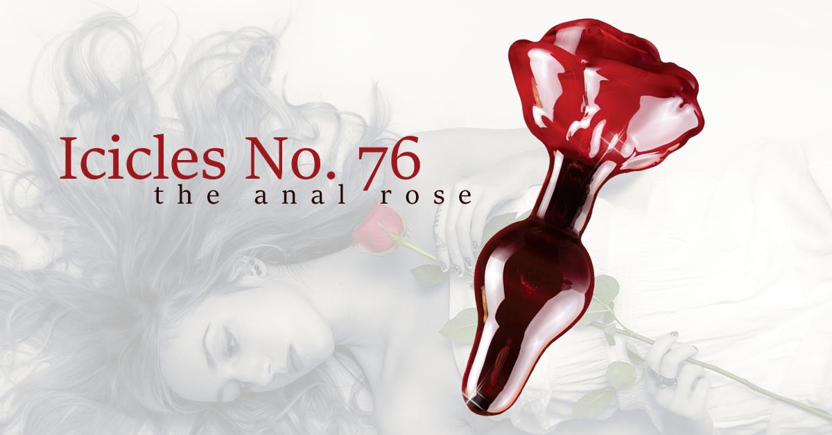Glass Butt Plug Icicles No. 76 Rose Design